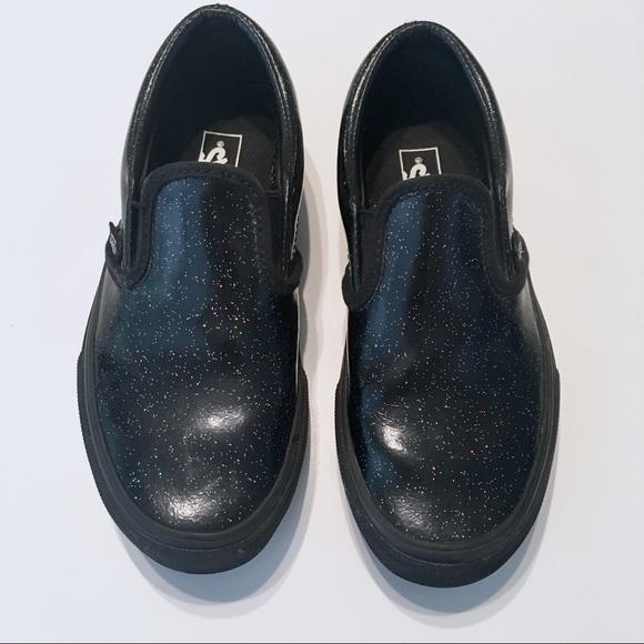 2aba0d8199 VANS Galaxy Black Patent Slip-Ons. M 5b7dc2270945e08e1fae44d2